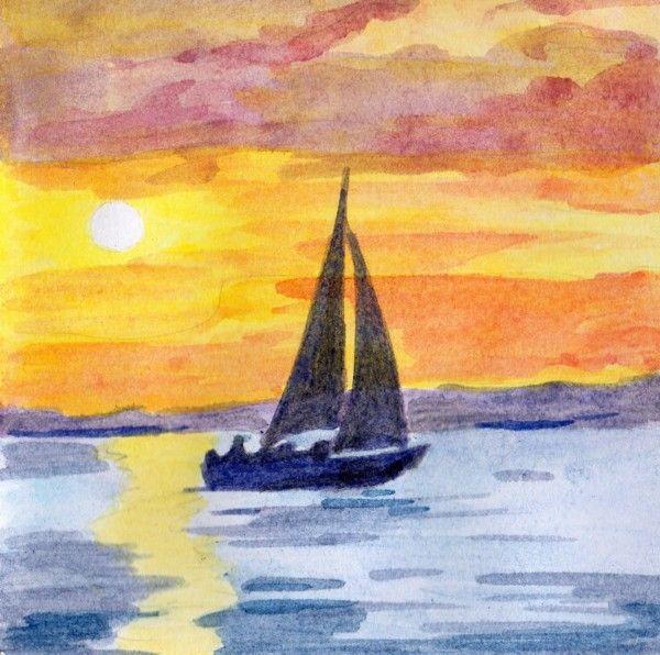 Soleil couchant - Paysage peinture facile ...